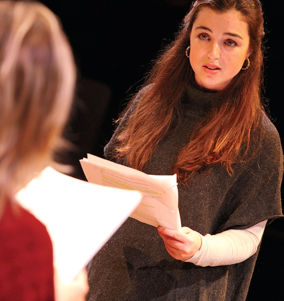 Playwright and performer Heather Raffo and Madeleine Kelley (C'16), at right, in the Lab workshop performance of Noura in December 2015. Noura received its world premiere at Shakespeare Theatre Company in Washington, D.C. this February.