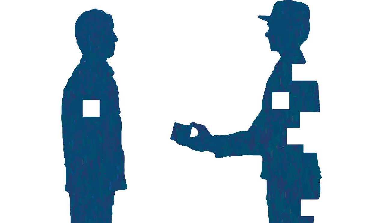 graphic of person giving gift to other person