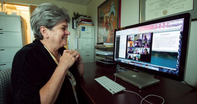 Carol Taylor on computer