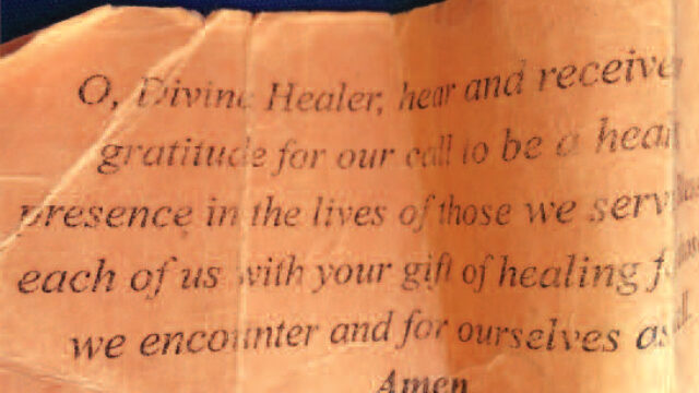 prayer on a piece of old paper