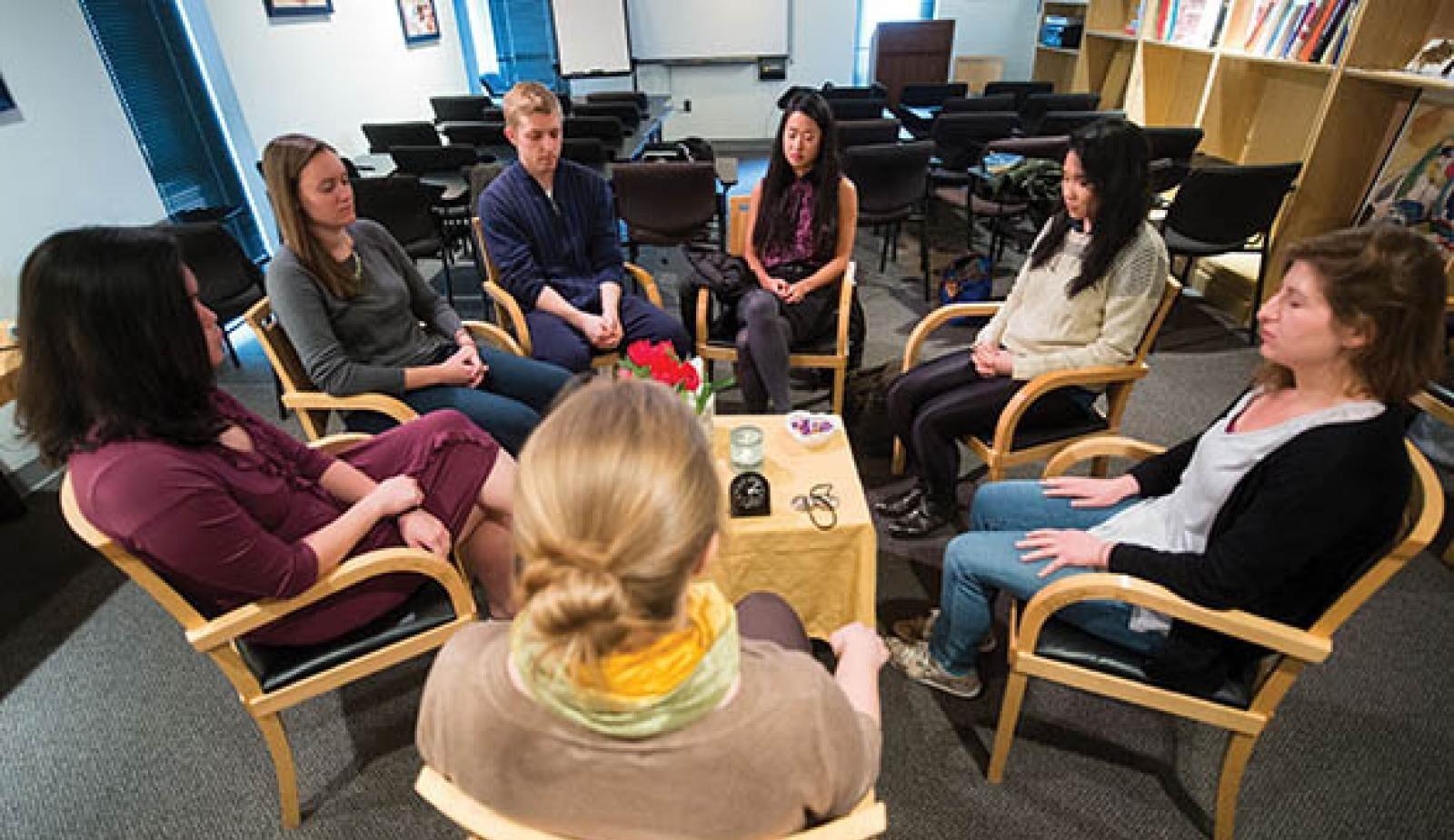 Mind-body medicine session with meditation
