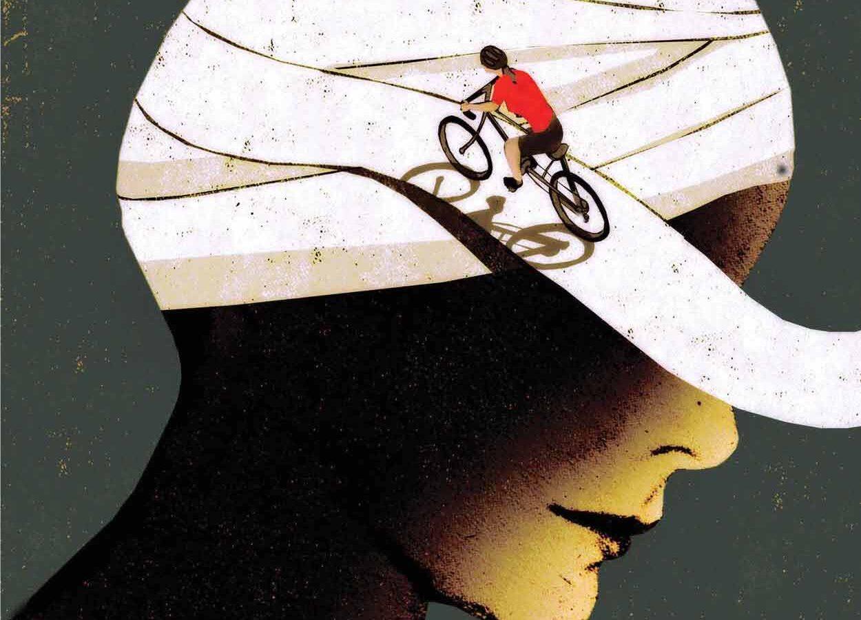 graphic of woman biking onto bandaid wrapped around someone's head