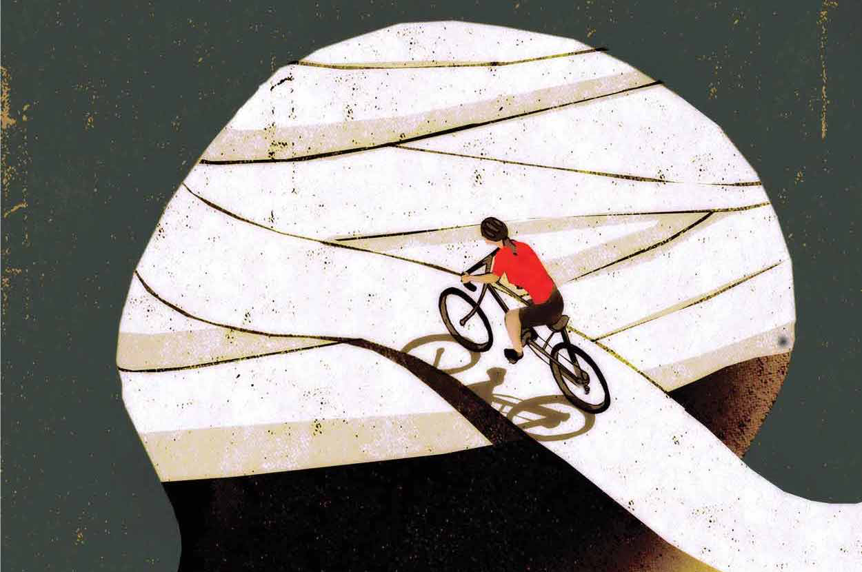 tiny graphic of person biking on bandage