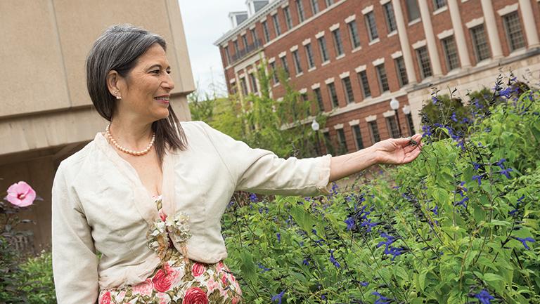 Adriane Fugh- Berman touching plants