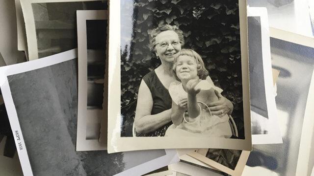 polaroid of grandma with granddaughter