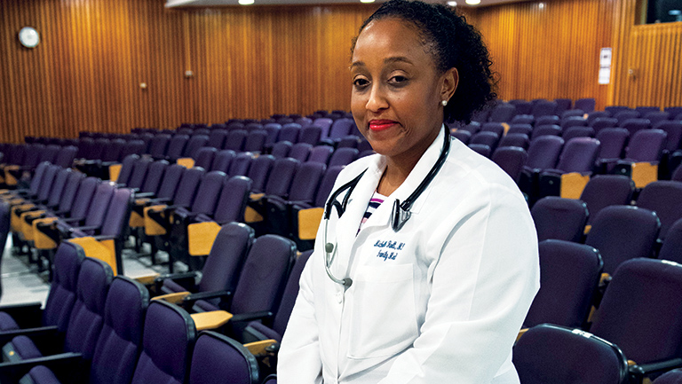 Michelle Roett with white coat on