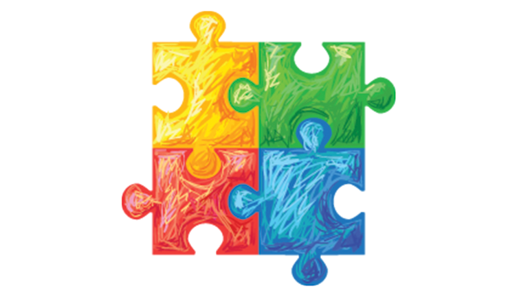 drawing of 4 colorful puzzle pieces fit together