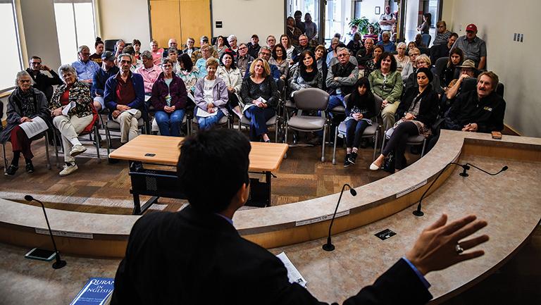 Ayaz Virji lectures on Islam at City Hall in Granite Falls, Minnesota