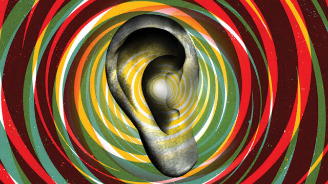 graphic of ear surrounded by colorful circles