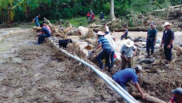 people working in honduran village