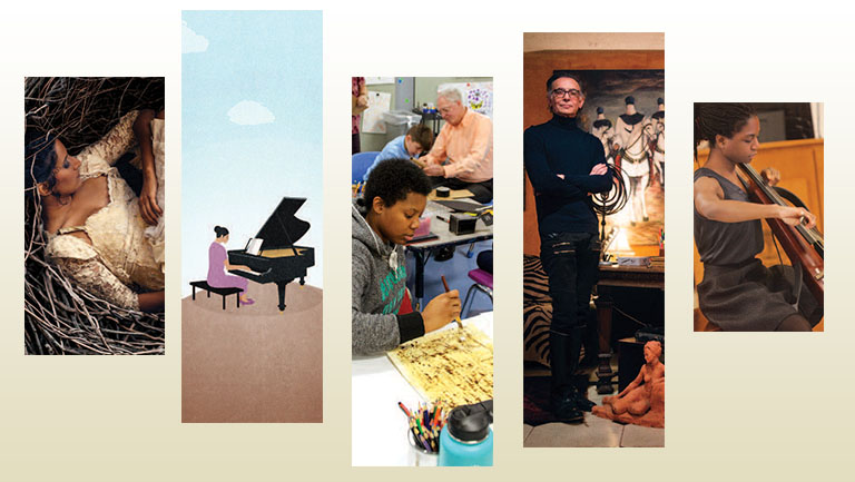collage of images: woman in dress, playing piano, kid doing art, person playing cello