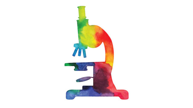 watercolor painting of a rainbow microscope