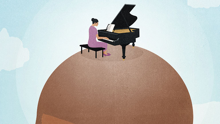 graphic of woman playing piano on head