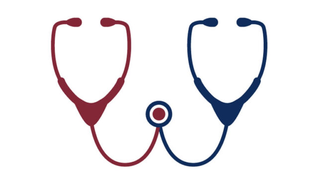 stethoscopes meeting in the middle