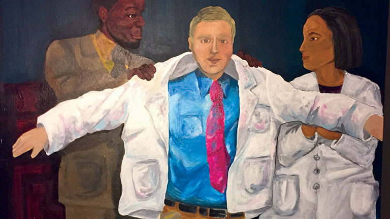 painting of people putting a white coat on a mans