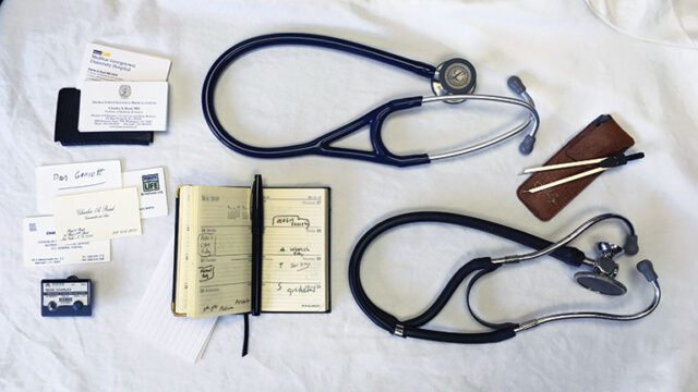 spread of items carried in the white coat