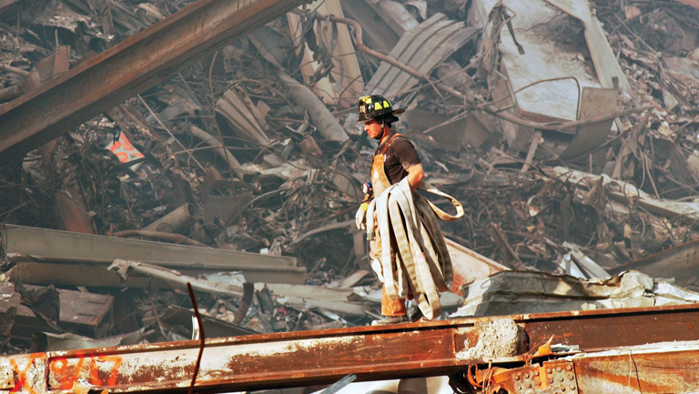 firefighter at the 9/11 wreckage