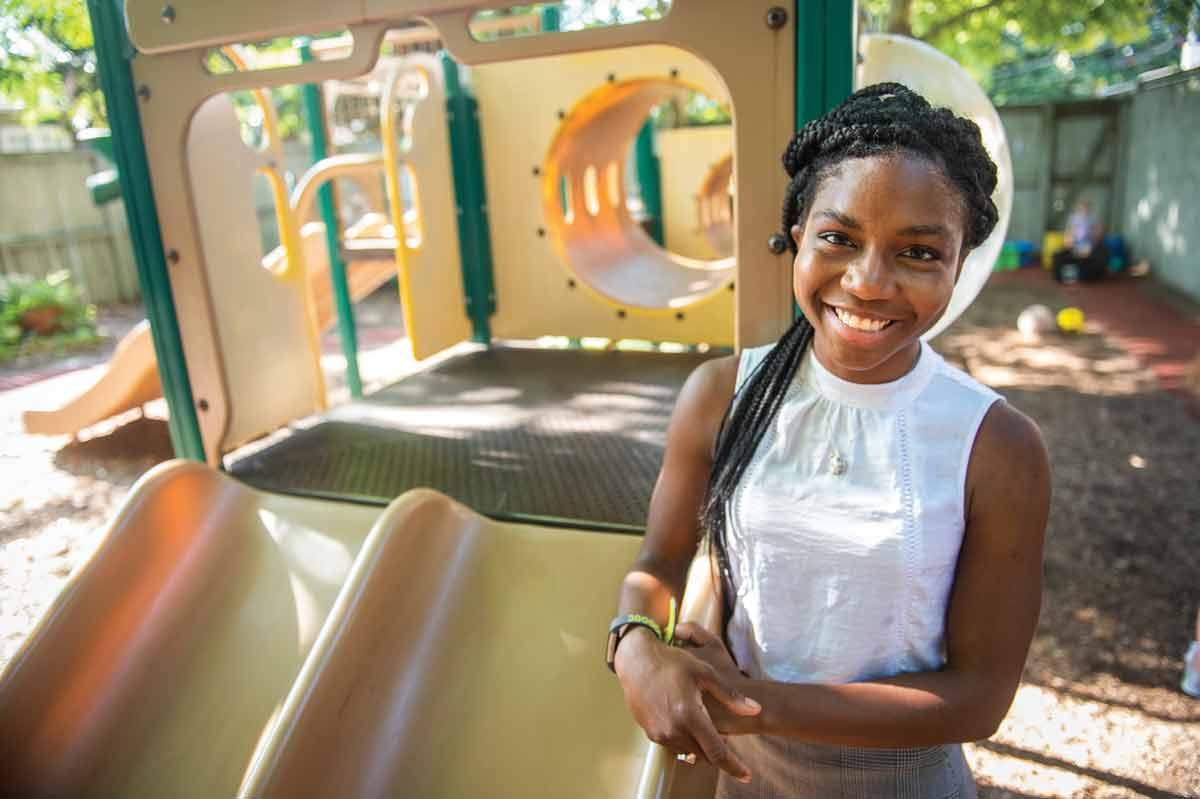 Lawren Wooten by playground