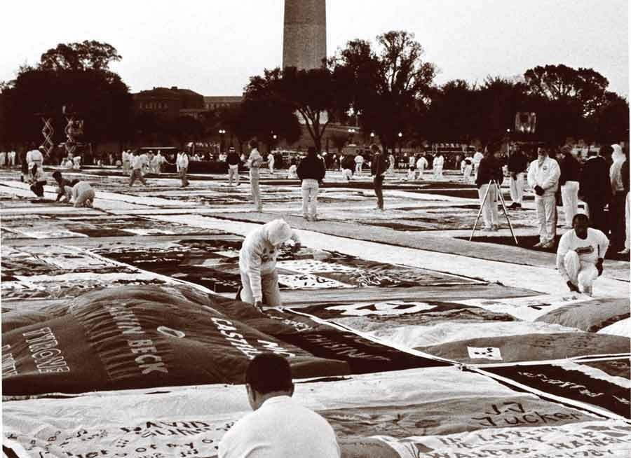 old image of people with AIDS quilt