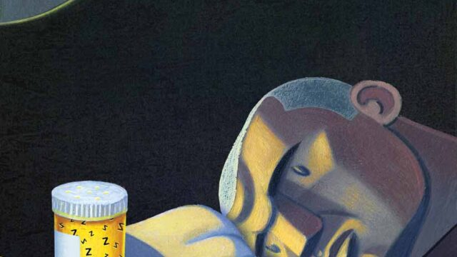 cartoon of man in bed staring longingly at pills