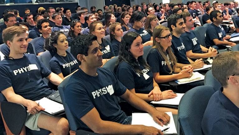 Physios program students sitting in lecture hall
