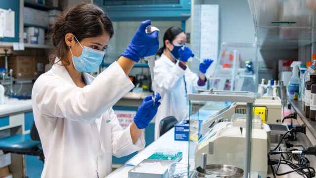 medical students with pipettes in lab