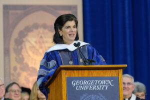 luci baines johnson speaking at graduation