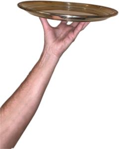 hand holding platter