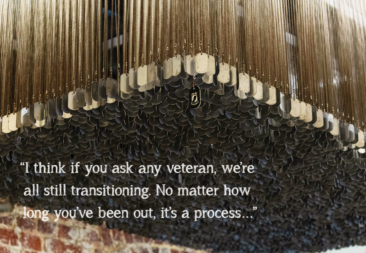 """image of dog tag hanging in the bakery with quote that says, """"I think if you ask any veteran, were all still transitioning. No matter how long youve been out, its a process"""""""