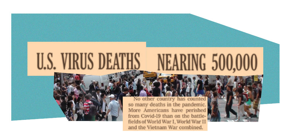 """caption that reads """"US virus death nearing 500,000 overlayed on people protesting"""