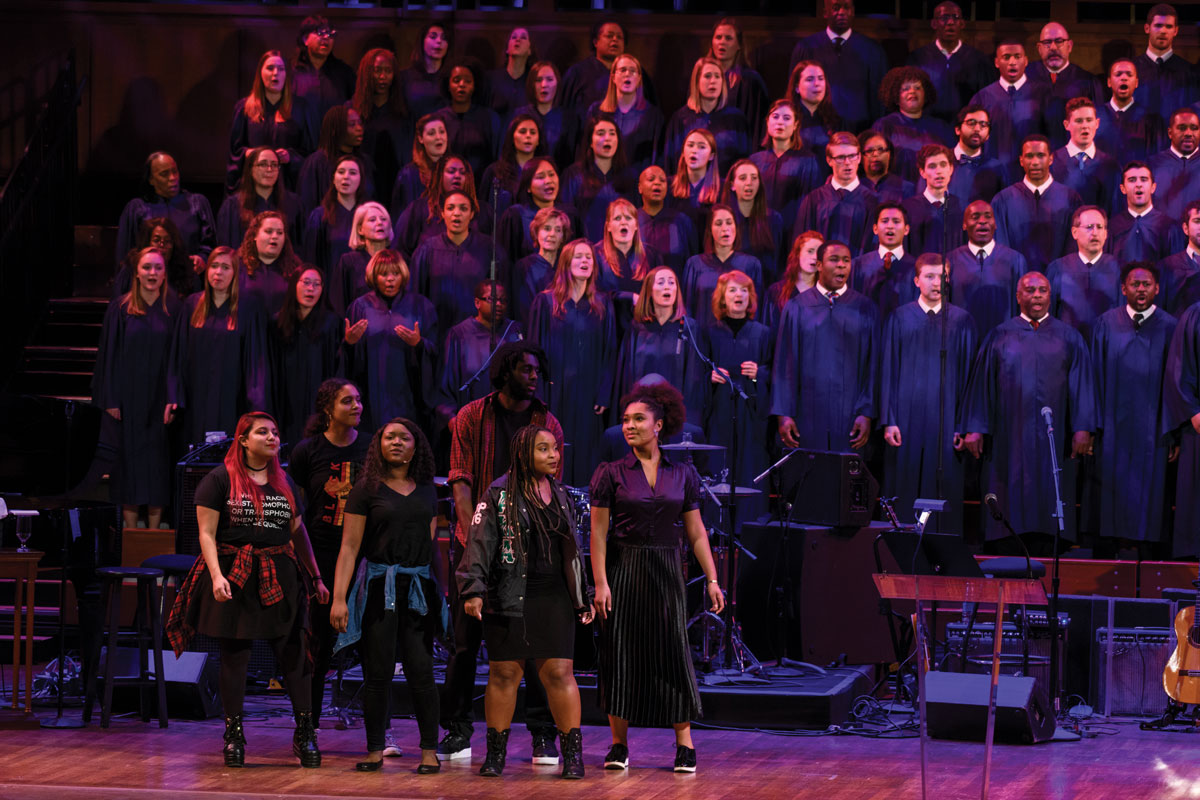Fatima Dyfan (C'21) (third from left) performs in an ensemble work of theater, dance, and spoken word, co-directed by Maya Roth and Mar Cox (C'17), as part of the 2018 Martin Luther King Jr. Day celebration at the Kennedy Center.